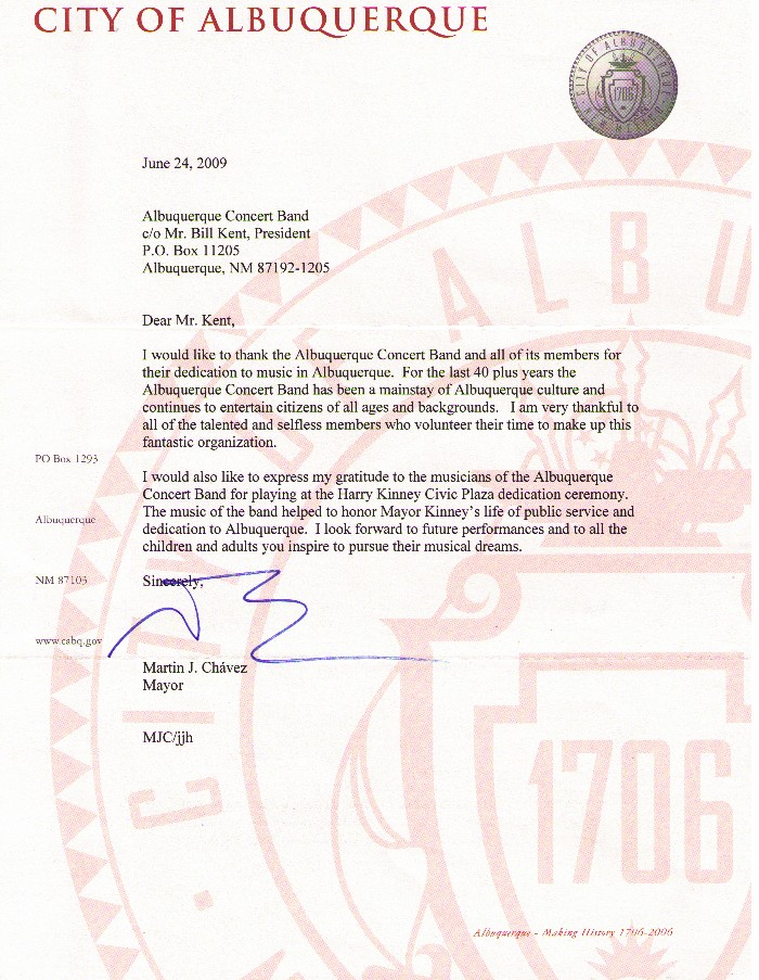 Mayor Chavez's Letter to the Albuquerque Concert Band